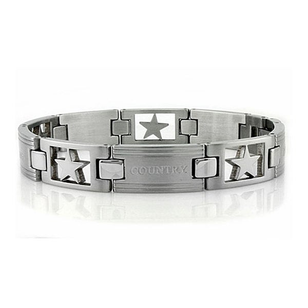 Inspirational Stainless Steel Men's Link Bracelet - 8.5 inches