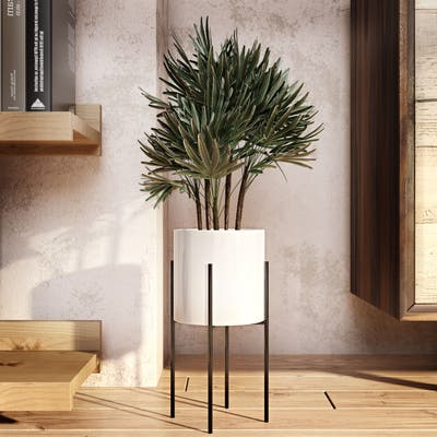 "Lonnie Mid Century Ceramic Planter - White 13""H - 13""H x 6.5""W x 6.5""D (Inside pot: 5.5""H x 6""W)"