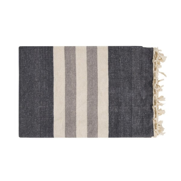 "50"" x 70"" Nautical Nights Dark Charcoal, Cream and Gray Striped Cotton Fringed Throw Blanket"