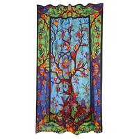 Handmade Cotton 3D Colorful Tree Of LIfe Curtain Drape Panel 56x85 Inches - 56 x 85 inches