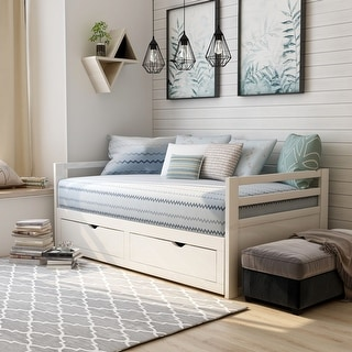 Furniture of America Soma Expandable Sleeper Daybed with Storage Trundle