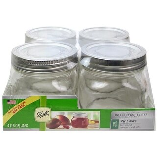 Ball Jar Pint Wide Mouth Elite Clear 4pc