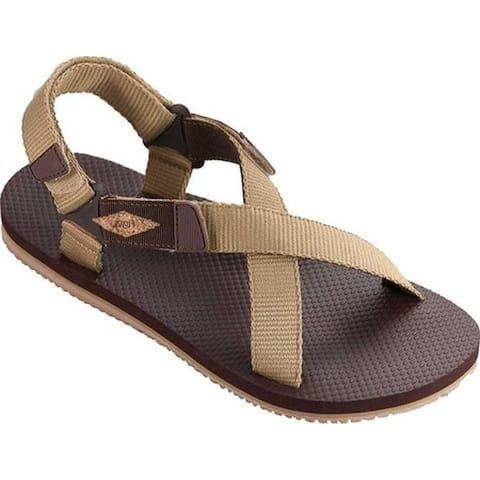 Flojos Men's Powell Adjustable Strap Sandal Tan/Brown Denim