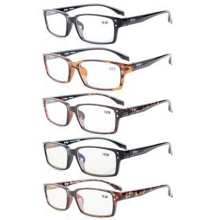 Eyekepper 5-Pack Spring-Hinges Classic Rectangular Frame Reading Glasses Readers +1.0