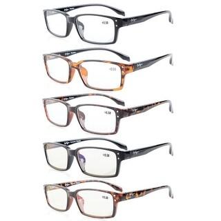 Eyekepper 5-Pack Spring-Hinges Classic Rectangular Frame Reading Glasses Readers +1.75