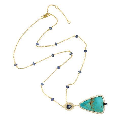 18Kt Gold Diamond Sapphire Turquoise Matinee Necklace Gemstone Jewelry With Jewelry Box