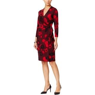 Anne Klein Womens Wrap Dress Floral Print 3/4 Sleeves