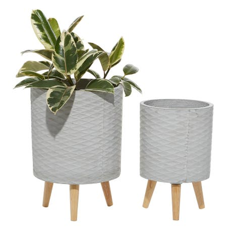 """White Cylindrical MGO Planters Set Of 2 14""""H 16""""H - 10 x 10 x 15Round"""