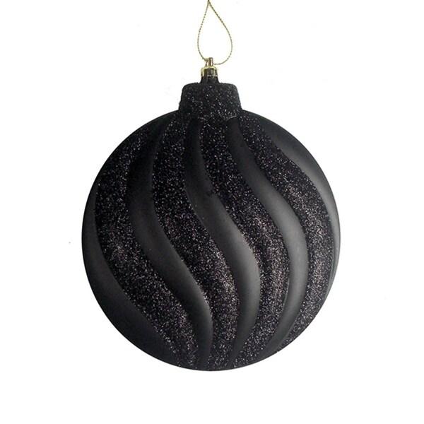 "6ct Matte Jet Black Glitter Swirl Shatterproof Christmas Disc Ornaments 6.25"""