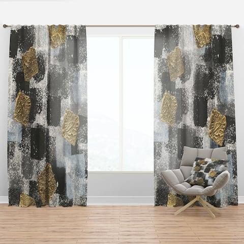Designart 'Gold Glamour Squares I' Modern Curtain Panel