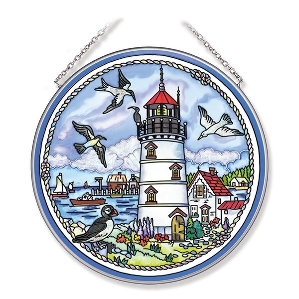 """Blue and White Seabirds and Lighthouse Round Glass Wall Art Decor 6.75"""" - N/A"""