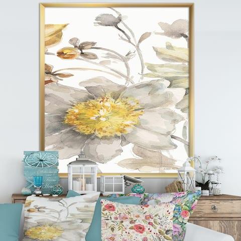Designart 'Fields of Gold Watercolor Flower III' Cabin & Lodge Framed Art Print