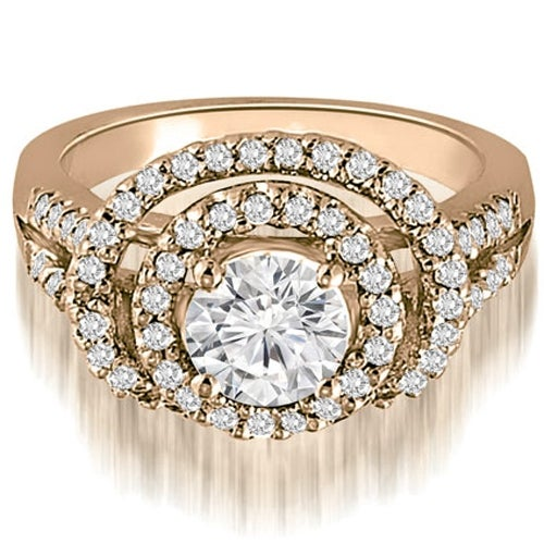 1.65 cttw. 14K Rose Gold Double Halo Round Cut Diamond Engagement Ring
