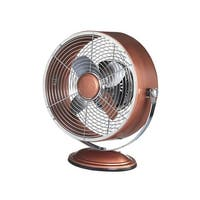 "13"" Copper Metallic Retro Adjustable Tilt Head Round Table Top Fan - Silver"