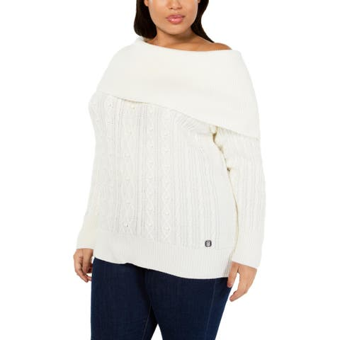 Tommy Hilfiger Womens Plus Pullover Sweater Cable Knit Off-the-Shoulder