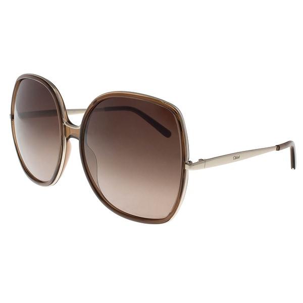 ca4e127a7d Shop Chloe CE725/S P03 210 Brown Square Sunglasses - 62-17-135 ...