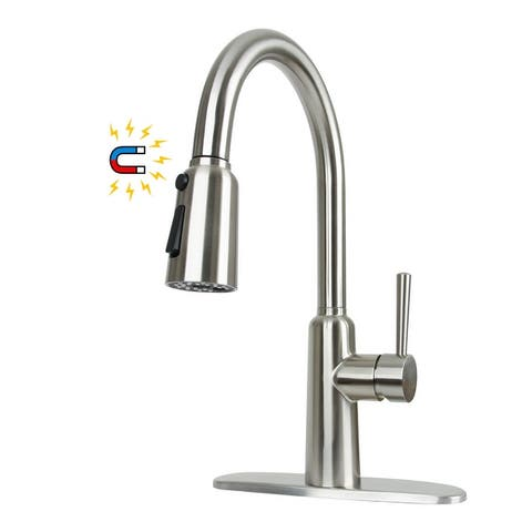 Pull Down Kitchen Sink Faucet with Magnetic Docking Sprayer, Single Handle Stainless Steel Kitchen Sink Faucets with Deck Plate