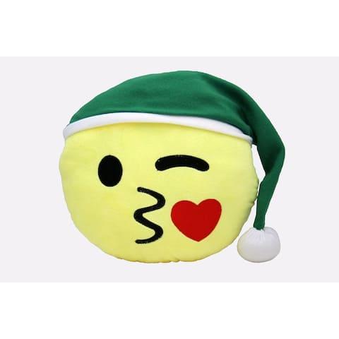 Emoji Holiday Decorative Throw Pillow, Kissy Face