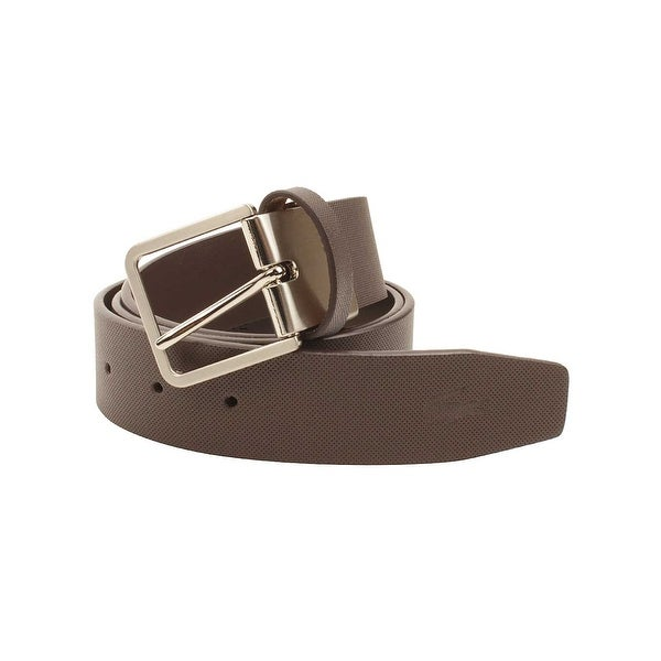 Lacoste Mens Leather Embossed Croc Belt in Brown