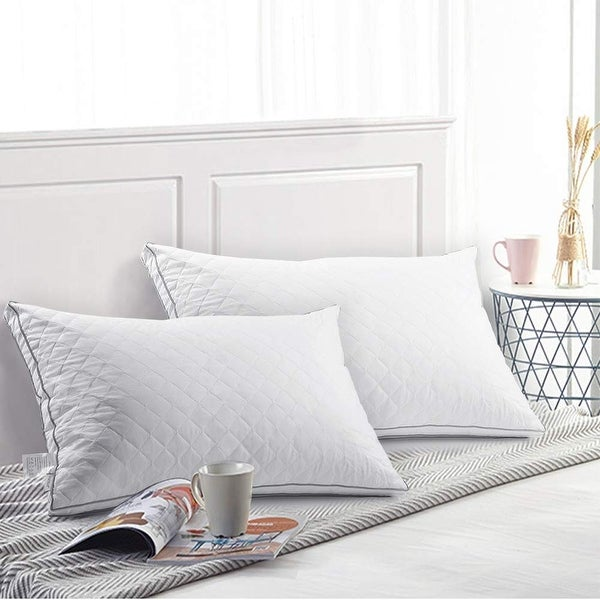 Bed pillows for sleeping 100/% Cotton 2-pack Luxury Down Pillows Queen Size