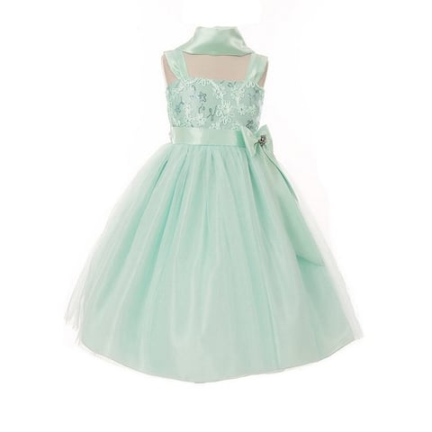 Huncho Little Girls Mint Bow Accent Tulle Embroidered Flower Girl Dress