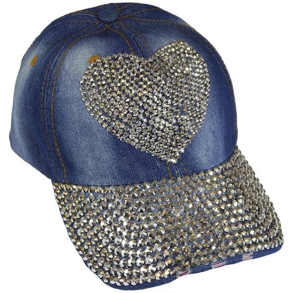 Heart Sparkling Bedazzled Studded Baseball Cap Hat, Denim, Light Blue