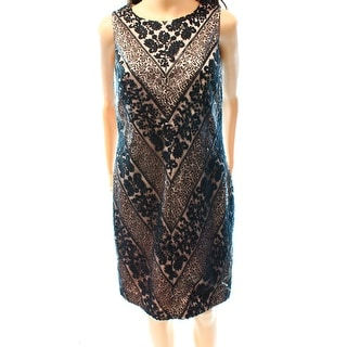 Vince Camuto NEW Black Nude Mesh Lace Women's 14 Sequin Sheath Dress