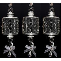 "Set of 3 Mouth Blown Egyptian Crystal Barrel Shaped Drop Christmas Ornament 6.5"" - CLEAR"