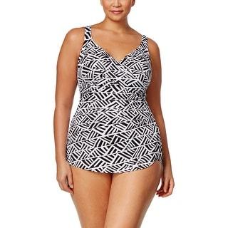 Swim Solutions Plus Thigh Minimizer Womens One-Piece Swimsuit Black White 22W
