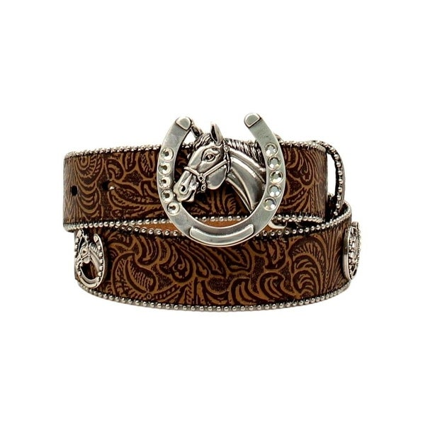 Shop Ariat Western Belt Girls Floral Embossed Horsehead Rhinestone - Free  Shipping On Orders Over  45 - Overstock.com - 20101144 6b04de1cccf8