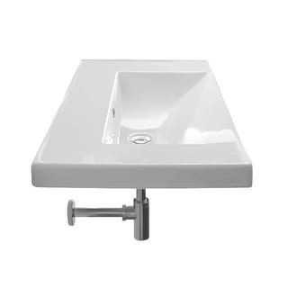 """Nameeks 3005  Scarabeo 36-1/4"""" Ceramic Wall Mounted / Drop In Bathroom Sink with 1 / 3 Holes Drilled"""