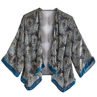 """Women's Peacock Feathers Fashion Jacket - -Velvet - 3/4 Sleeves - Hangs 20"""" - One size"""