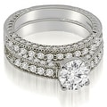 1.38 cttw. 14K White Gold Antique Milgrain Round Cut Diamond Bridal Set - Thumbnail 0