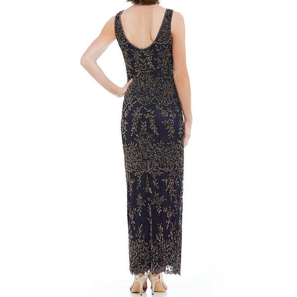 3a63376c0876 Shop Pisarro Nights NEW Blue Gold Womens Size 14 Embellished-Overlay ...