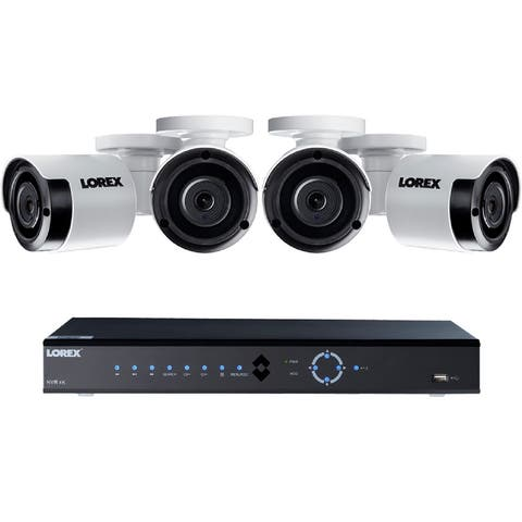 Lorex 8ch 4K Ultra HD IP NVR 2TB Security System with Four IP Cameras - White