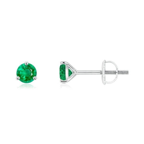 c8e28ee1ad67a Shop Angara 4mm 3 Prong Martini Setting Round Emerald Stud Earrings ...