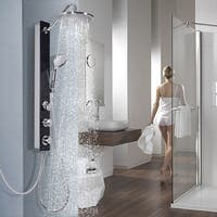 Costway Black Tempered Glass Shower Column Panel Rainfall Body Joints w/Hand&Head Shower
