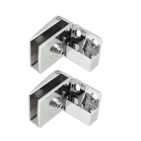 2pcs 3-5mm Thickness Wall Mounted Glass Door Hinges Clamps Silver Tone