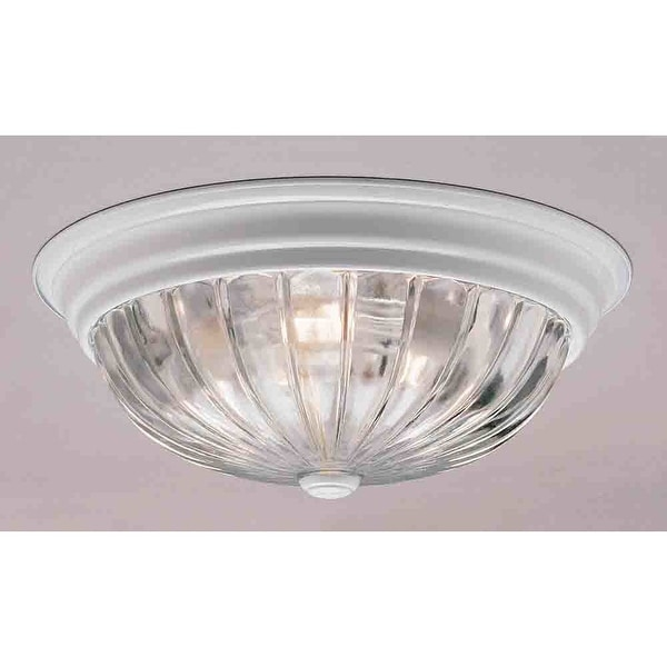 """Volume Lighting V7810 1-Light 11"""" Flush Mount Ceiling Fixture with Clear Melon Ribbed Glass Shade"""