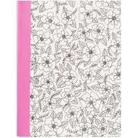 "Hall Pass Adult Coloring Composition Notebook 7.5""X9.75""-Floral"