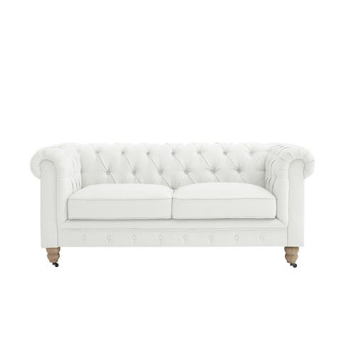 Kaylani Button Tufted Linen Loveseat with Casters - 71 L x 33.5 W x 30.3 H