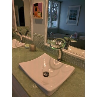 KRAUS Single Hole Single-Handle Vessel Glass Waterfall Bathroom Faucet in Chrome with Glass Disk