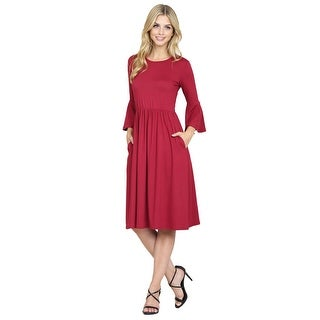 Riah Fashion's Bell Sleeve Midi Pocket Dress