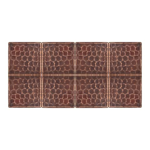 Premier Copper Products T2DBH_PKG8 2-inch x 2-inch Hammered Copper Tile - Quantity 8