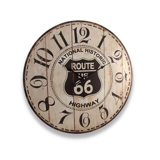 Antique Finish Route 66 Wall Clock 23 In.