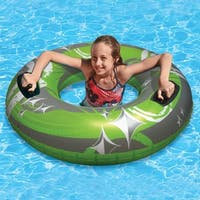 "50"" Green, Gray and White Giant Inflatable Swimming Pool Hurricane Sport Inner Tube - Green"