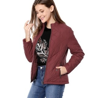 Allegra K Women Long Sleeves Zippered Pockets Quilted Jacket