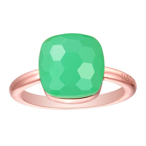 Vedantti Max Honeycomb Cut Green Chrysoprase Gemstone Divine Solitaire Ring