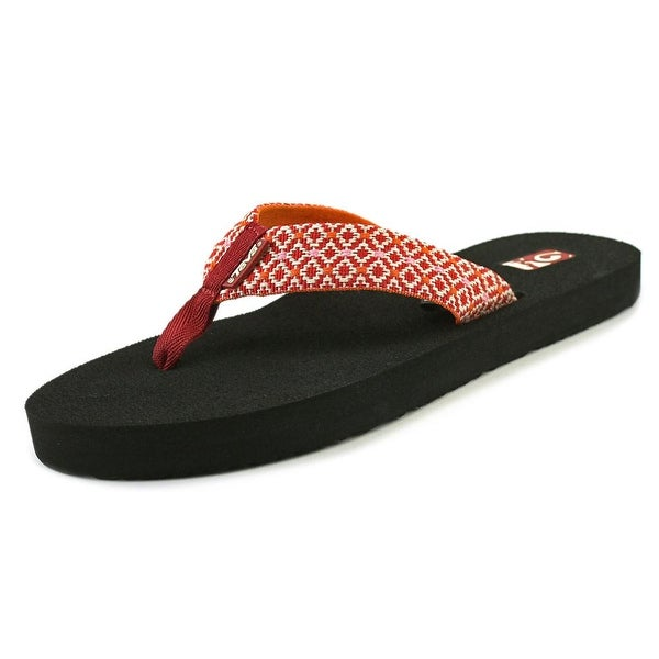 Teva Mush II Women Open Toe Canvas Red Flip Flop Sandal