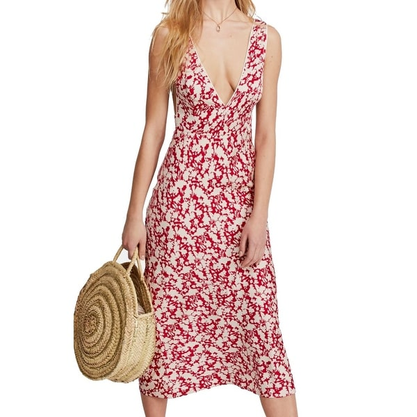 Free People Women's Dress Red Size 2 Sheath Plunging Neckline Floral
